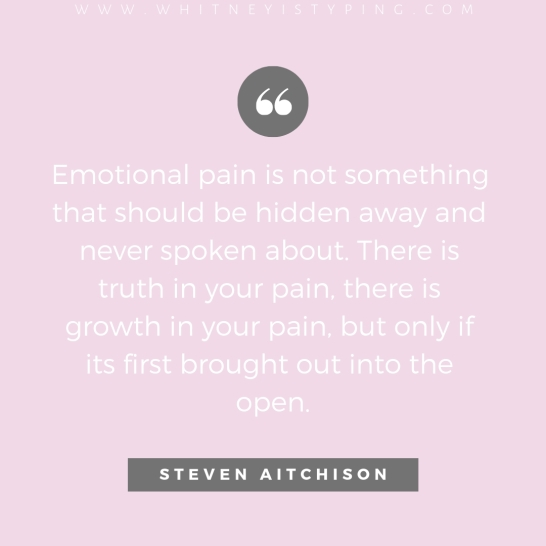Emotional pain is not somthing that should be hidden away and never spoken about. There is truth in your pain, there is growth in your pain, but only if its first brought out into the open..jpg